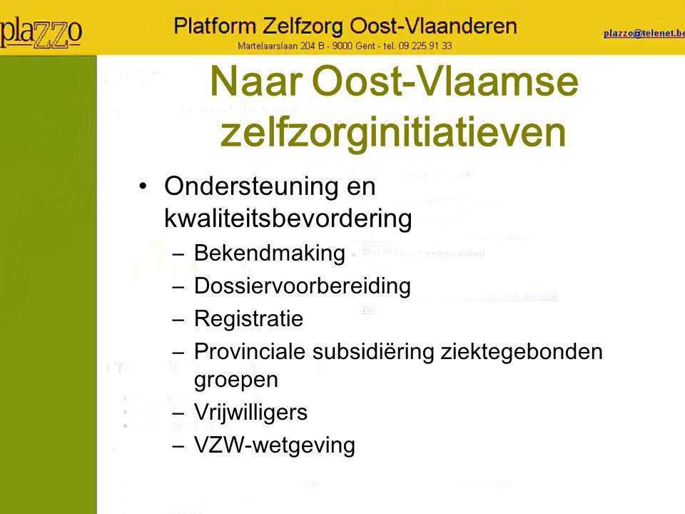Naar Oost-Vlaamse zelfzorginitiatieven Ondersteuning en kwaliteitsbevordering –Bekendmaking –Dossiervoorbereiding –Registratie –Provinciale subsidiëri