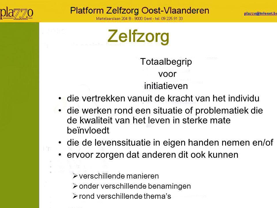 Doel verhogen van welzijn en gezondheid van de gebruikers in Oost-Vlaanderen door gebruikersversterking via krachtenbundeling van zelfzorginitiatieven in Oost-Vlaanderen via meersporenwerking naar Oost-Vlaamse: –Zelfzorginitiatieven –Individuen –Professionele hulpverleners –Beleid en overlegstructuren –Partnerorganisaties