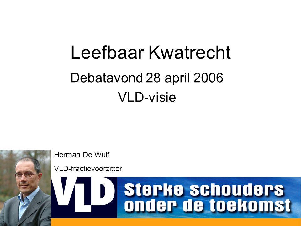 Leefbaar Kwatrecht Debatavond 28 april 2006 VLD-visie Herman De Wulf VLD-fractievoorzitter