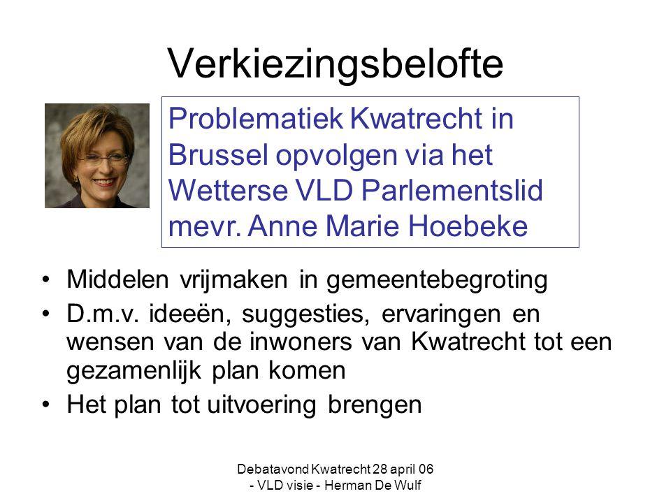 Debatavond Kwatrecht 28 april 06 - VLD visie - Herman De Wulf Verkiezingsbelofte Middelen vrijmaken in gemeentebegroting D.m.v.