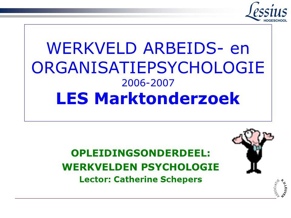 WERKVELD ARBEIDS- en ORGANISATIEPSYCHOLOGIE 2006-2007 LES Marktonderzoek OPLEIDINGSONDERDEEL: WERKVELDEN PSYCHOLOGIE Lector: Catherine Schepers