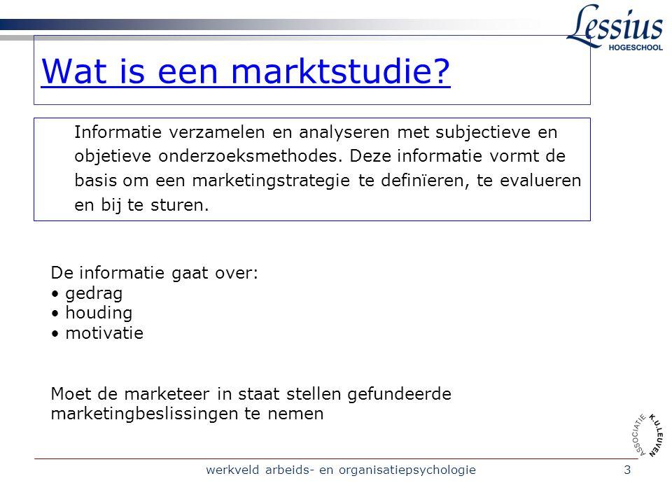 werkveld arbeids- en organisatiepsychologie3 Wat is een marktstudie.