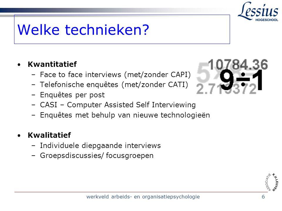 werkveld arbeids- en organisatiepsychologie6 Welke technieken.