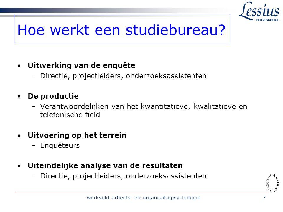 werkveld arbeids- en organisatiepsychologie7 Hoe werkt een studiebureau.
