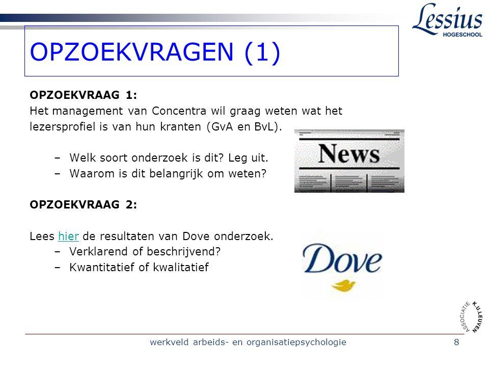 werkveld arbeids- en organisatiepsychologie8 OPZOEKVRAGEN (1) OPZOEKVRAAG 1: Het management van Concentra wil graag weten wat het lezersprofiel is van hun kranten (GvA en BvL).