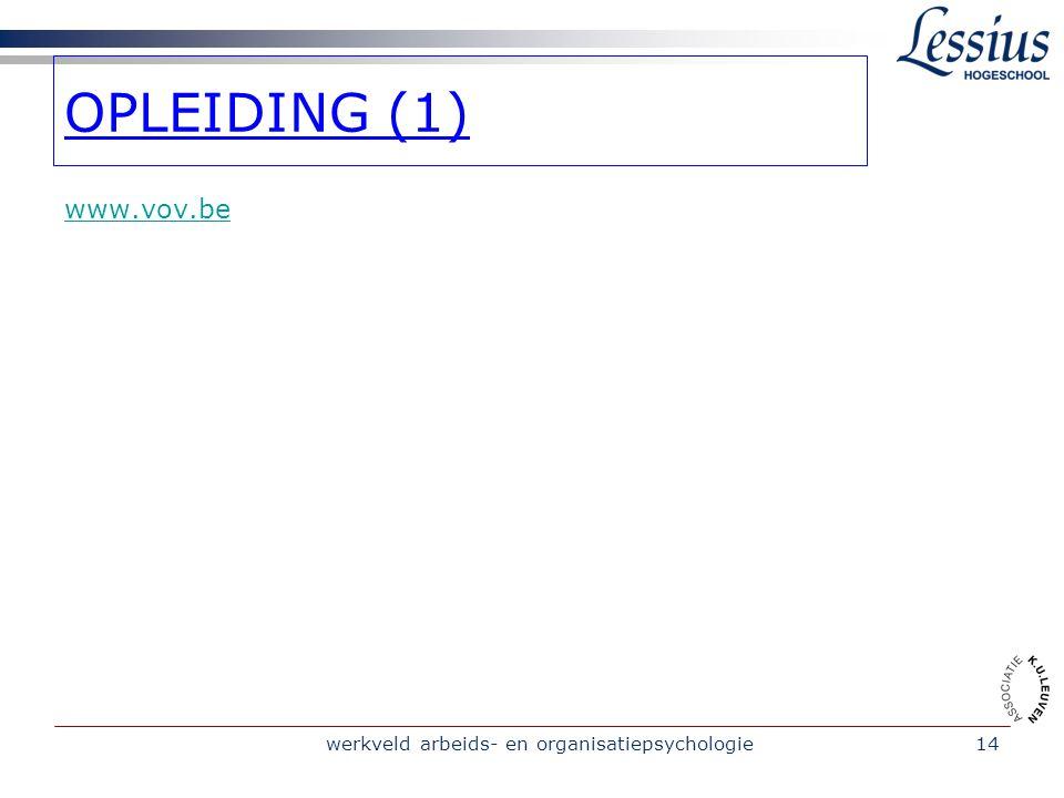 werkveld arbeids- en organisatiepsychologie14 www.vov.be OPLEIDING (1)