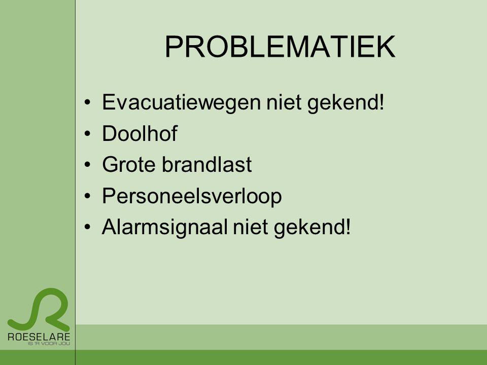 PROBLEMATIEK Evacuatiewegen niet gekend! Doolhof Grote brandlast Personeelsverloop Alarmsignaal niet gekend!