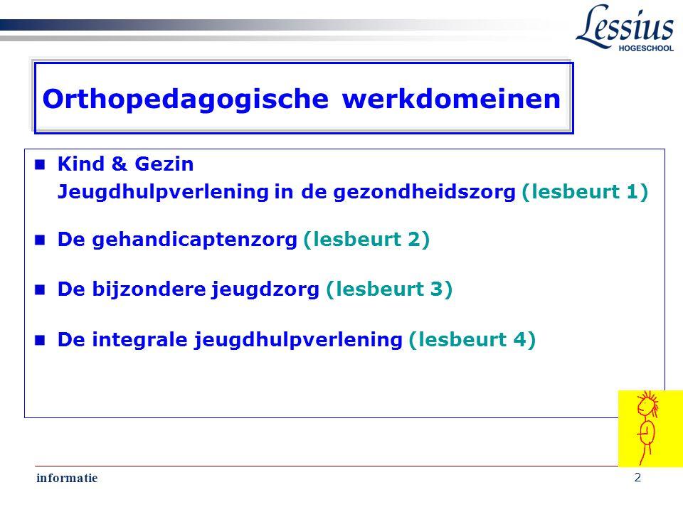 informatie 2 Orthopedagogische werkdomeinen Kind & Gezin Jeugdhulpverlening in de gezondheidszorg (lesbeurt 1) De gehandicaptenzorg (lesbeurt 2) De bijzondere jeugdzorg (lesbeurt 3) De integrale jeugdhulpverlening (lesbeurt 4)