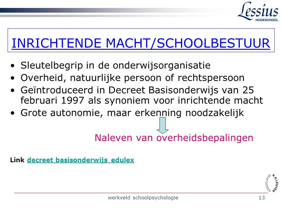 werkveld schoolpsychologie14 ONDERWIJSSTRUCTUUR