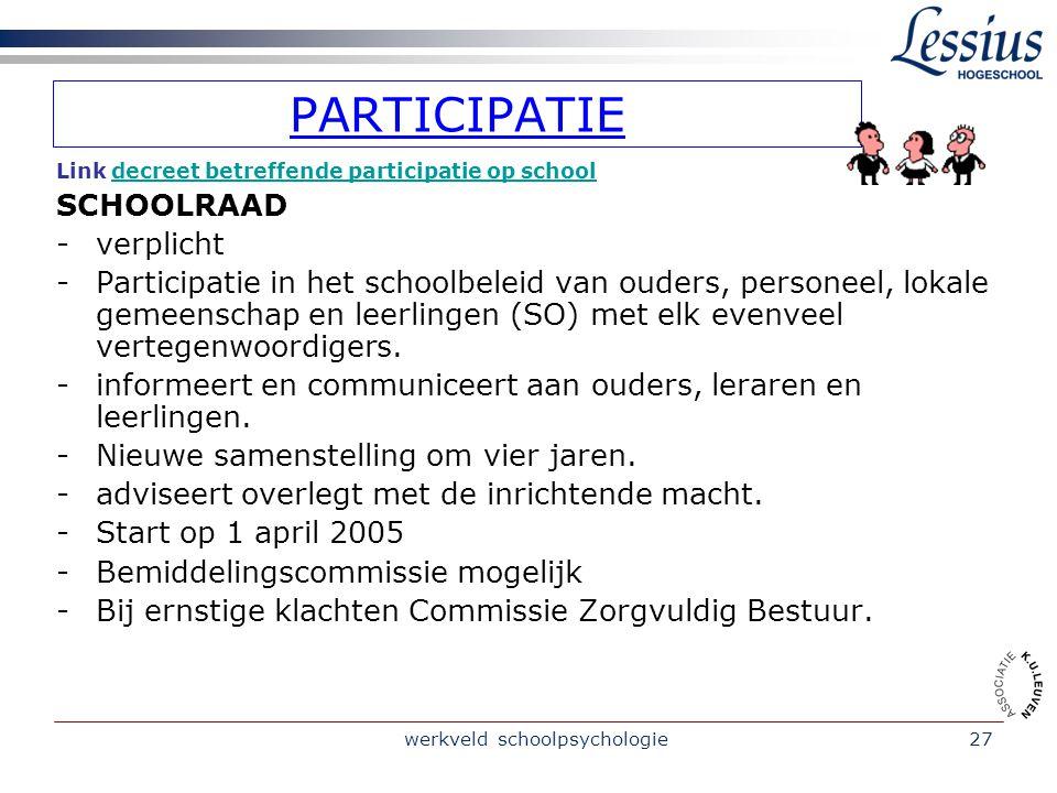 werkveld schoolpsychologie28 PARTICIPATIE Link decreet betreffende participatie op schooldecreet betreffende participatie op school PEDAGOGISCHE RAAD EN OUDERRAAD - voor vertegenwoordigers in schoolraad.