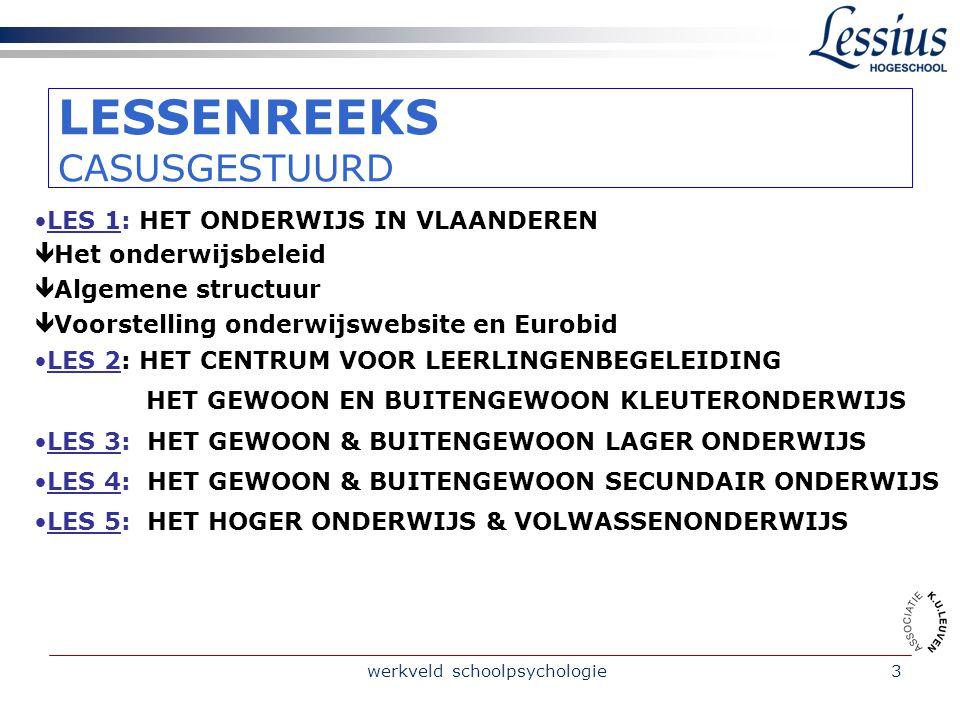 werkveld schoolpsychologie4 AlGEMENE DOELSTELLINGEN /Inzicht krijgen in de organisatie van het onderwijs in Vlaanderen en de werkingsprincipes.