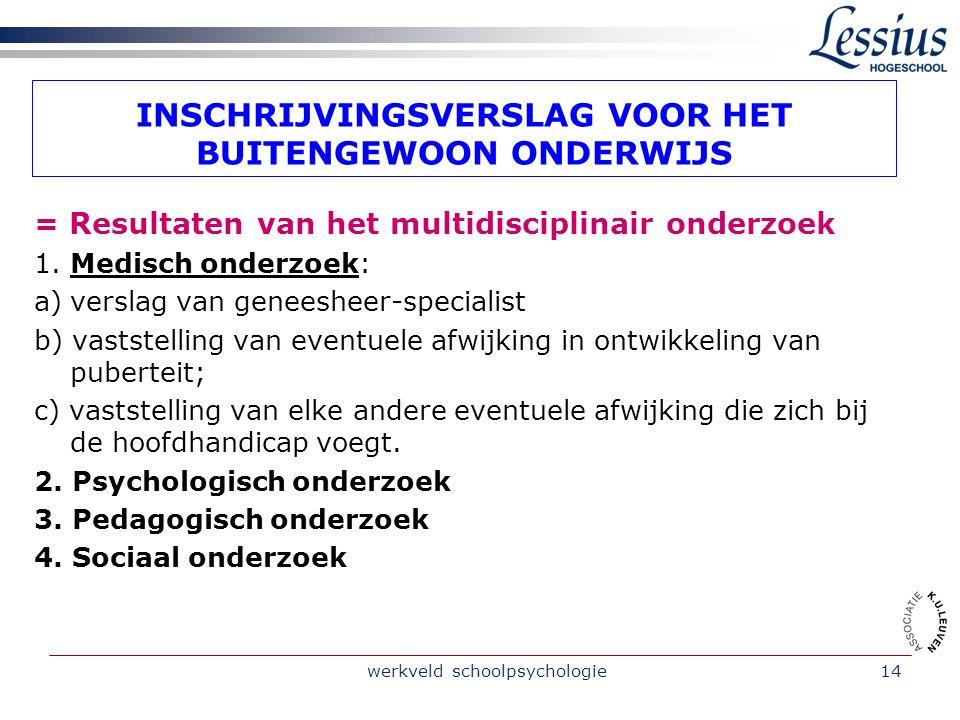 werkveld schoolpsychologie14 INSCHRIJVINGSVERSLAG VOOR HET BUITENGEWOON ONDERWIJS = Resultaten van het multidisciplinair onderzoek 1.