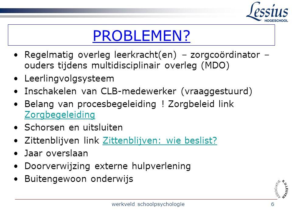 werkveld schoolpsychologie6 PROBLEMEN.