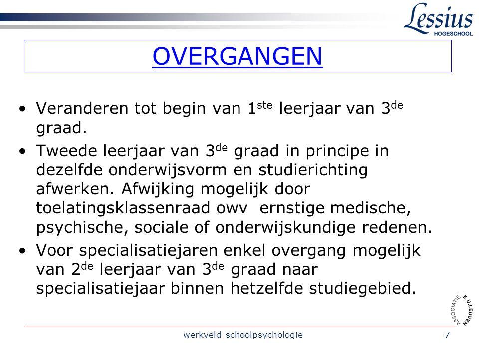 werkveld schoolpsychologie7 OVERGANGEN Veranderen tot begin van 1 ste leerjaar van 3 de graad.