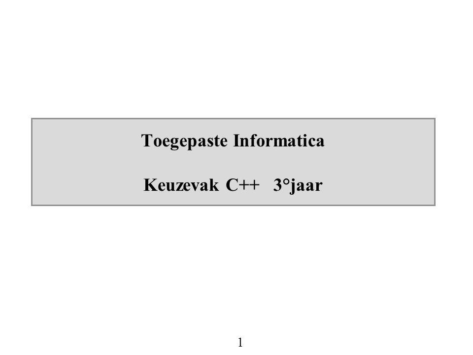 1 Toegepaste Informatica Keuzevak C++ 3°jaar
