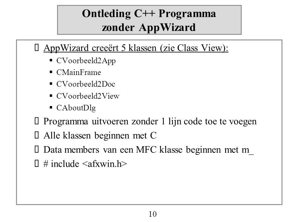 10 Ontleding C++ Programma zonder AppWizard  AppWizard creeërt 5 klassen (zie Class View):  CVoorbeeld2App  CMainFrame  CVoorbeeld2Doc  CVoorbeel