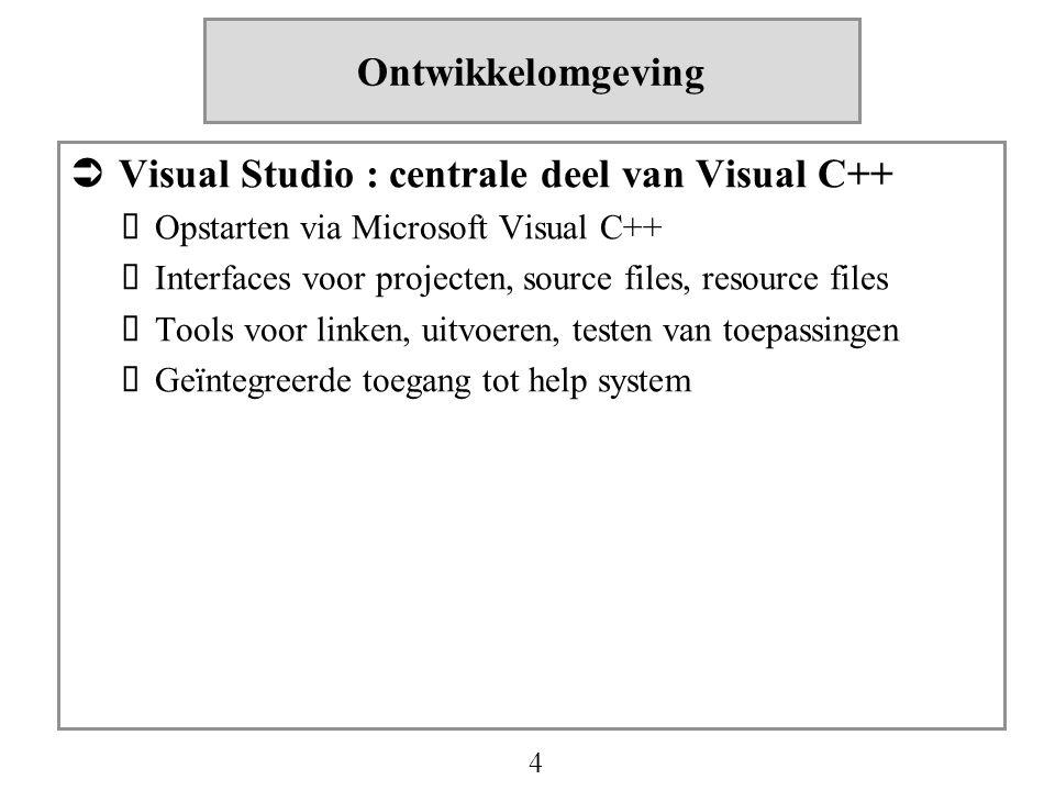 4 Ontwikkelomgeving  Visual Studio : centrale deel van Visual C++  Opstarten via Microsoft Visual C++  Interfaces voor projecten, source files, res