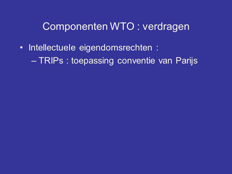 Componenten WTO : verdragen Intellectuele eigendomsrechten : –TRIPs : toepassing conventie van Parijs