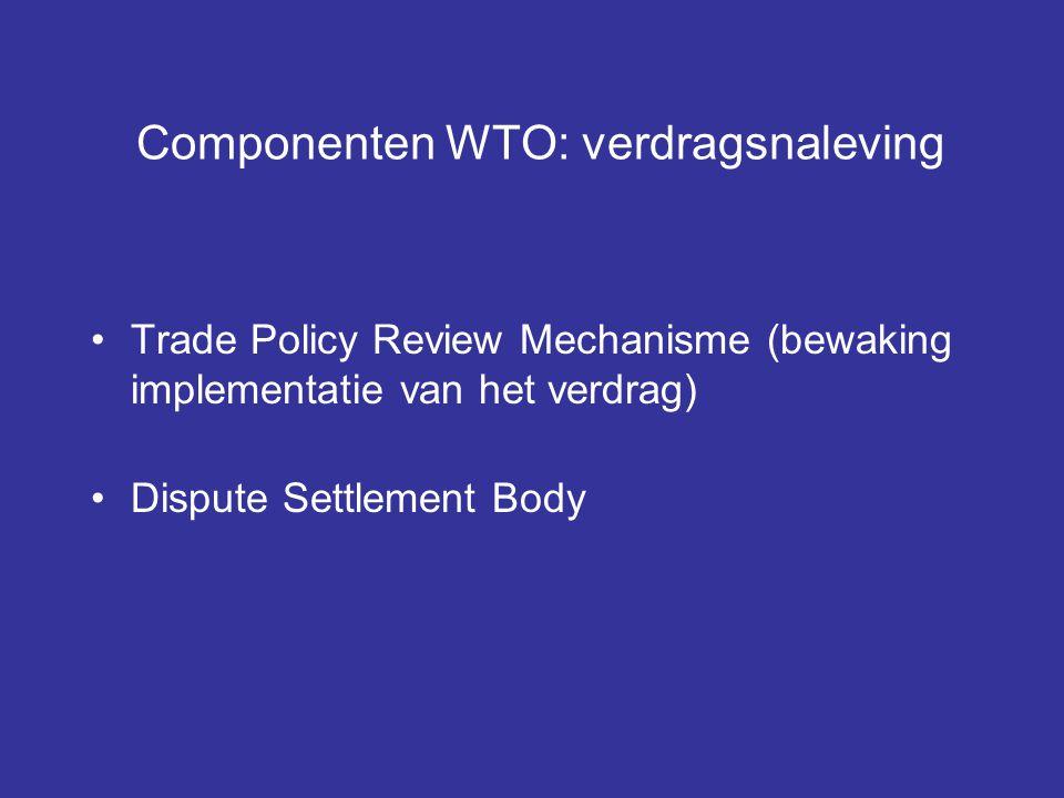 Componenten WTO: verdragsnaleving Trade Policy Review Mechanisme (bewaking implementatie van het verdrag) Dispute Settlement Body