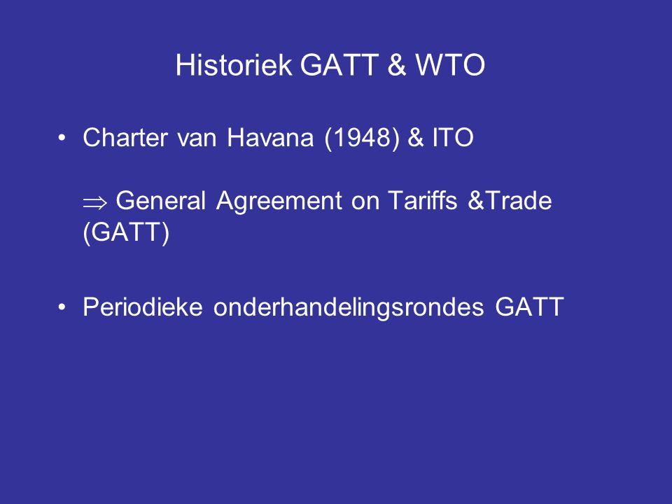 Historiek GATT & WTO Charter van Havana (1948) & ITO  General Agreement on Tariffs &Trade (GATT) Periodieke onderhandelingsrondes GATT