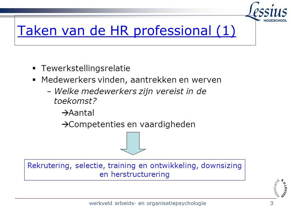 werkveld arbeids- en organisatiepsychologie3 Taken van de HR professional (1)  Tewerkstellingsrelatie  Medewerkers vinden, aantrekken en werven - We
