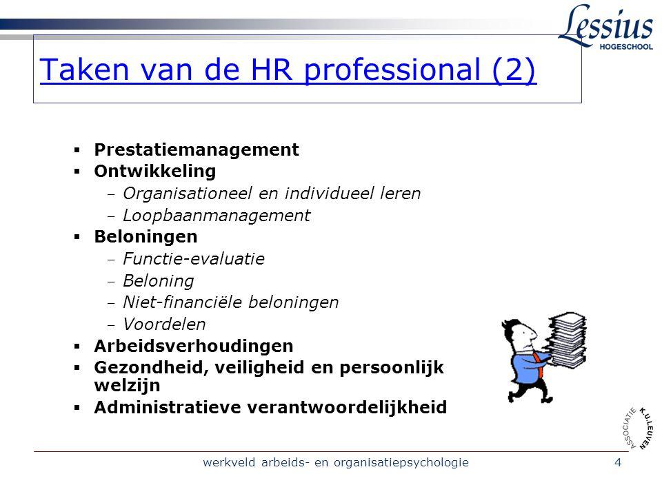 werkveld arbeids- en organisatiepsychologie4 Taken van de HR professional (2)  Prestatiemanagement  Ontwikkeling - Organisationeel en individueel le