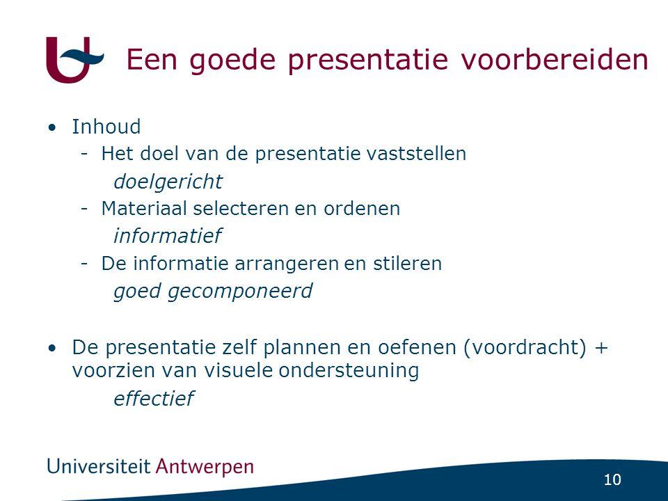 10 Een goede presentatie voorbereiden Inhoud -Het doel van de presentatie vaststellen doelgericht -Materiaal selecteren en ordenen informatief -De inf