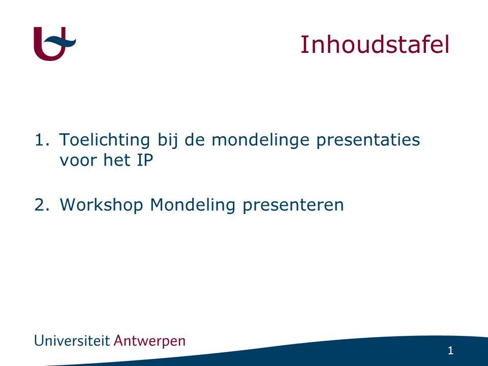 1 Inhoudstafel 1.Toelichting bij de mondelinge presentaties voor het IP 2.Workshop Mondeling presenteren