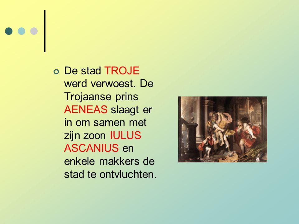 De stad TROJE werd verwoest. De Trojaanse prins AENEAS slaagt er in om samen met zijn zoon IULUS ASCANIUS en enkele makkers de stad te ontvluchten.