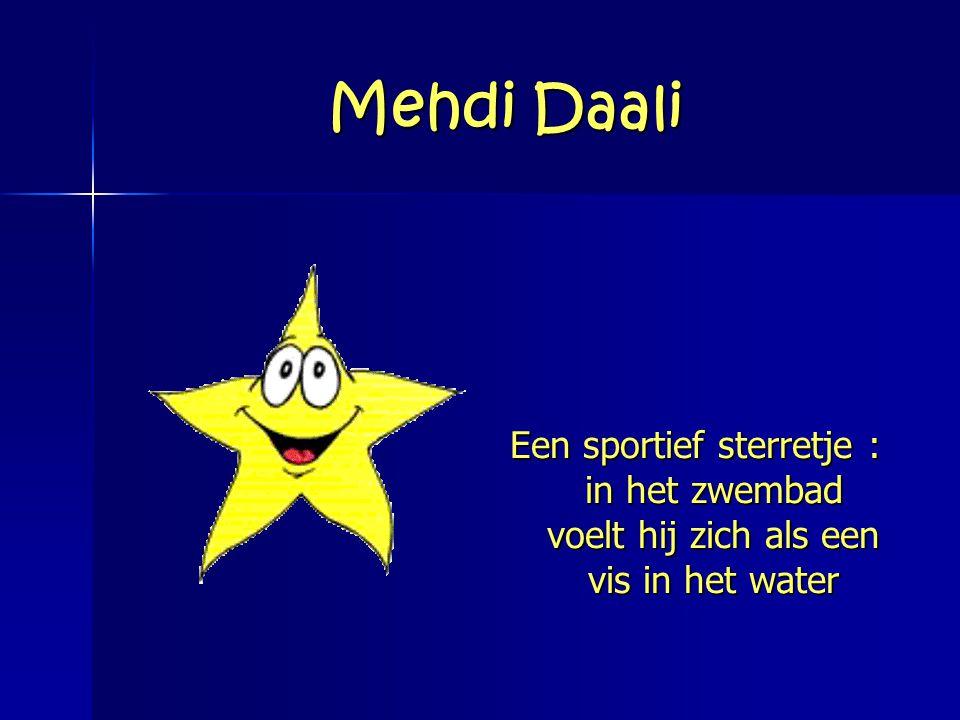 Mehdi Daali Een sportief sterretje : in het zwembad voelt hij zich als een vis in het water