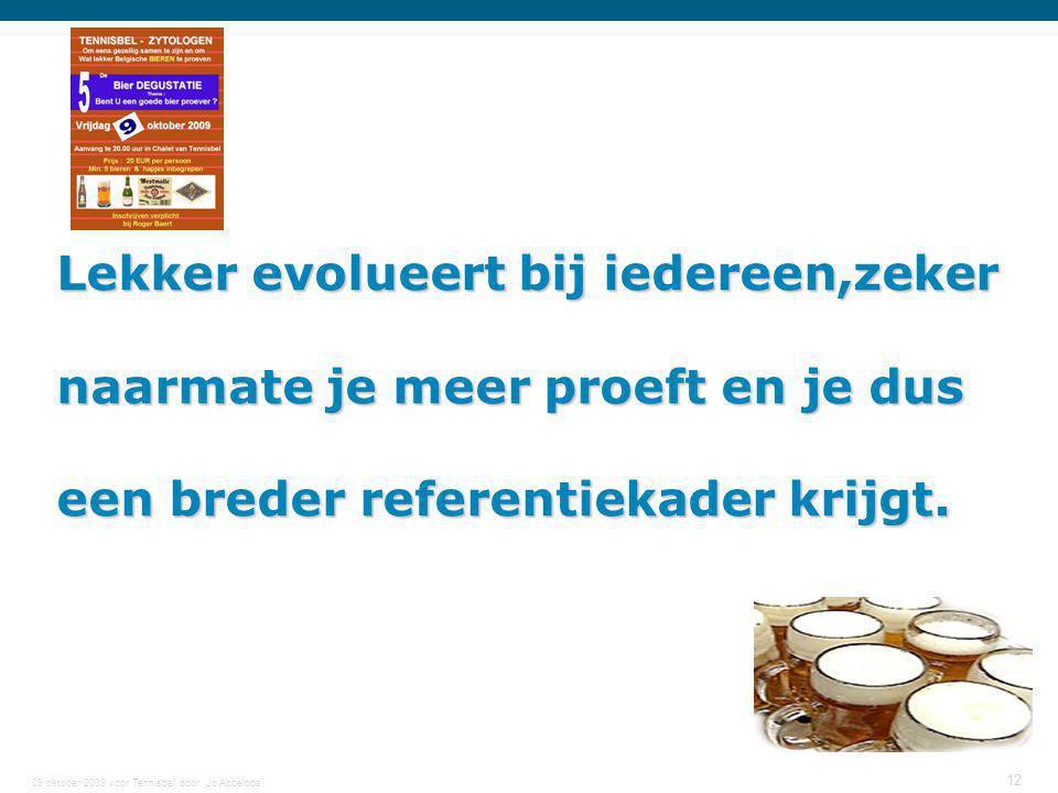 09 oktober 2009 voor Tennisbel door Jo Abbeloos 12 Lekker evolueert bij iedereen,zeker naarmate je meer proeft en je dus een breder referentiekader kr
