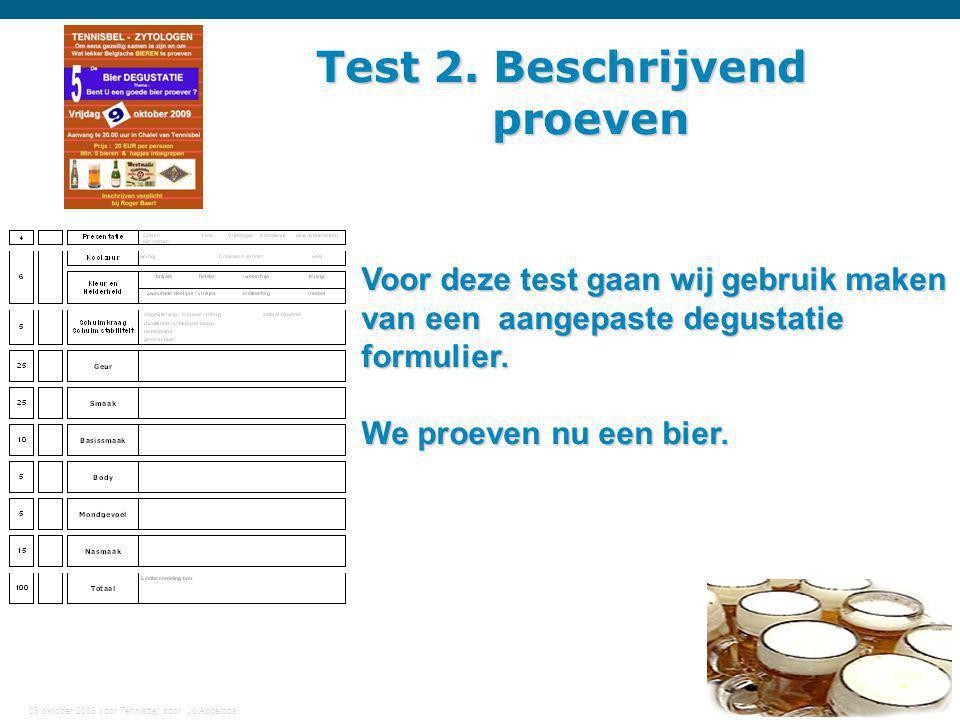 09 oktober 2009 voor Tennisbel door Jo Abbeloos 22 Test 2. Beschrijvend proeven proeven Voor deze test gaan wij gebruik maken van een aangepaste degus