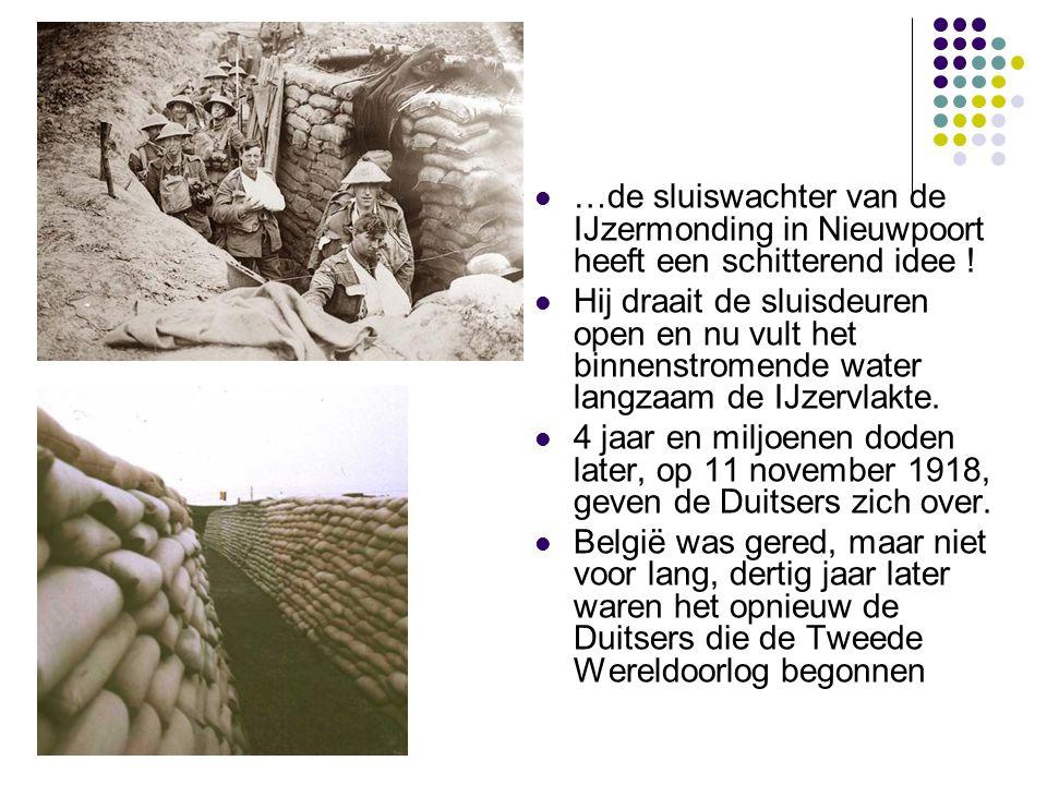 …de sluiswachter van de IJzermonding in Nieuwpoort heeft een schitterend idee ! Hij draait de sluisdeuren open en nu vult het binnenstromende water la