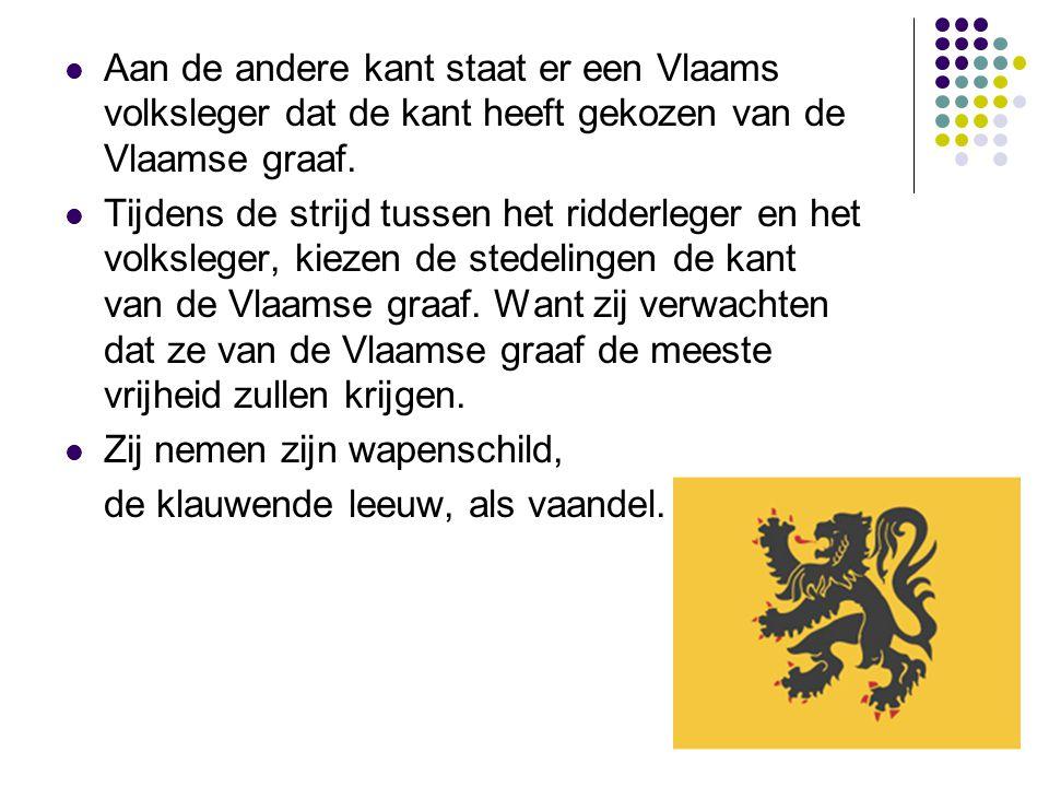 Aan de andere kant staat er een Vlaams volksleger dat de kant heeft gekozen van de Vlaamse graaf. Tijdens de strijd tussen het ridderleger en het volk