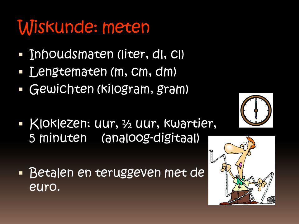 Wiskunde: meten  Inhoudsmaten (liter, dl, cl)  Lengtematen (m, cm, dm)  Gewichten (kilogram, gram)  Kloklezen: uur, ½ uur, kwartier, 5 minuten (an