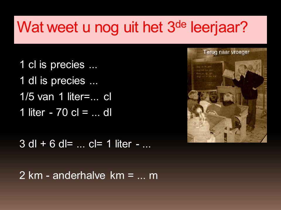 1 cl is precies... 1 dl is precies... 1/5 van 1 liter=... cl 1 liter - 70 cl =... dl 3 dl + 6 dl=... cl= 1 liter -... 2 km - anderhalve km =... m Wat