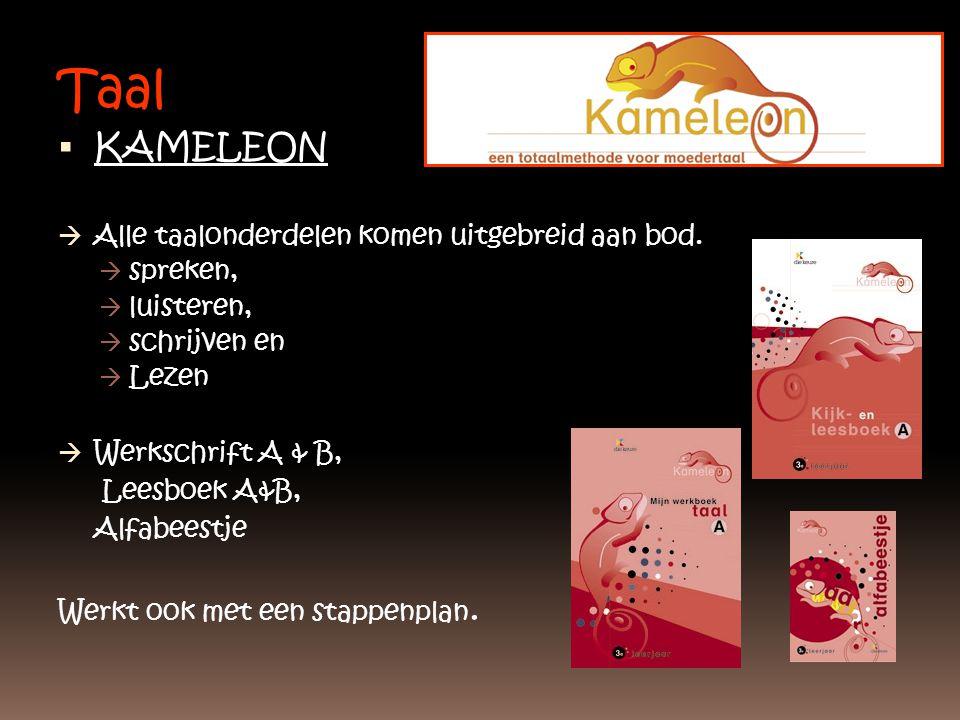 Taal  KAMELEON  Alle taalonderdelen komen uitgebreid aan bod.  spreken,  luisteren,  schrijven en  Lezen  Werkschrift A & B, Leesboek A&B, Alfa