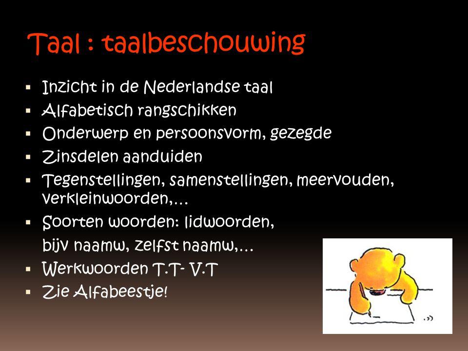 Taal : taalbeschouwing  Inzicht in de Nederlandse taal  Alfabetisch rangschikken  Onderwerp en persoonsvorm, gezegde  Zinsdelen aanduiden  Tegens