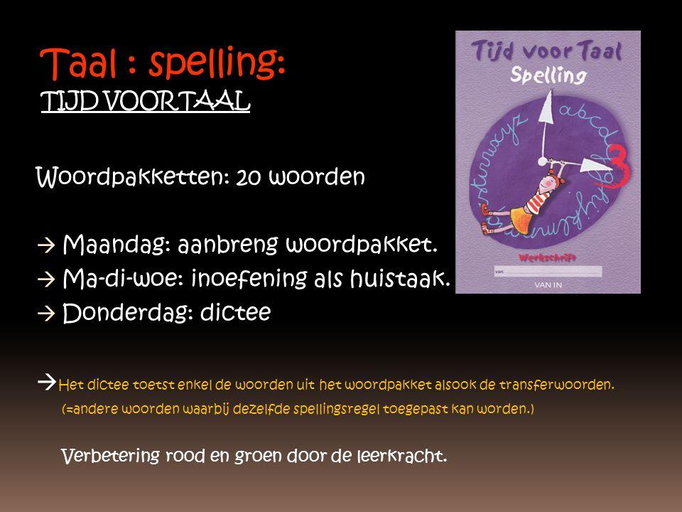Taal : spelling: TIJD VOOR TAAL Woordpakketten: 20 woorden  Maandag: aanbreng woordpakket.