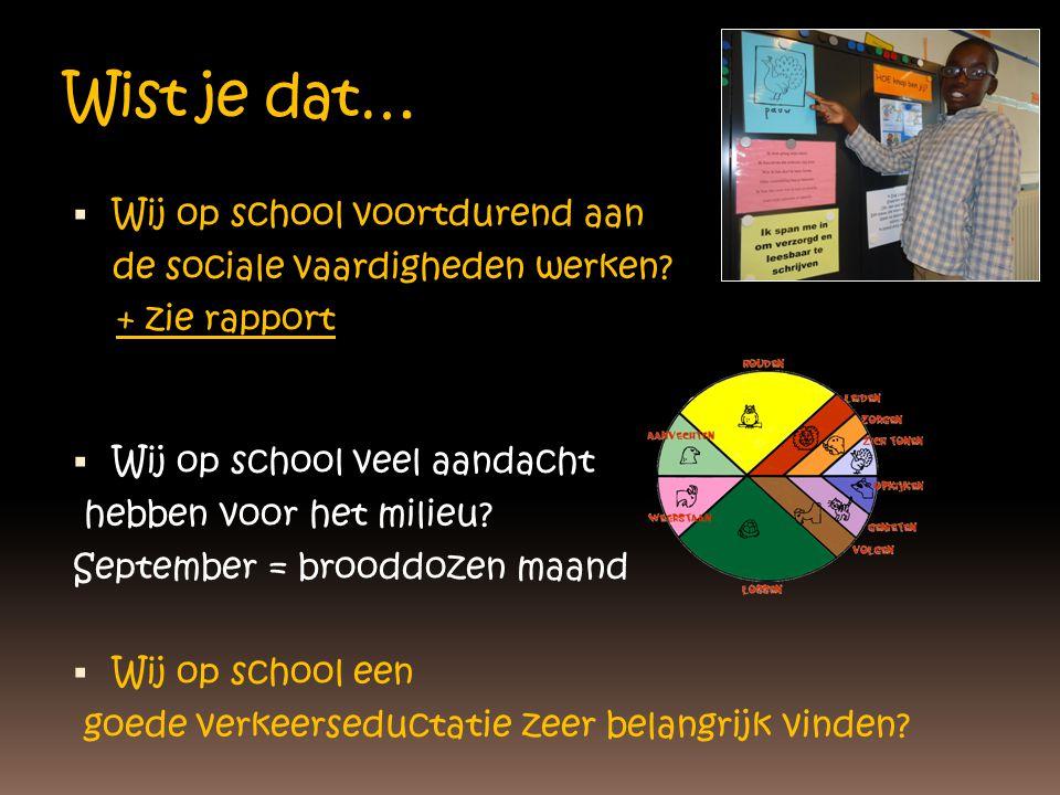 Wist je dat…  Wij op school voortdurend aan de sociale vaardigheden werken? + zie rapport  Wij op school veel aandacht hebben voor het milieu? Septe