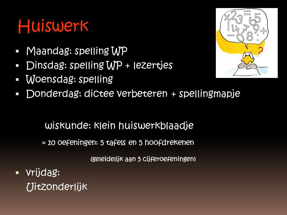 Huiswerk  Maandag: spelling WP  Dinsdag: spelling WP + lezertjes  Woensdag: spelling  Donderdag: dictee verbeteren + spellingmapje wiskunde: klein