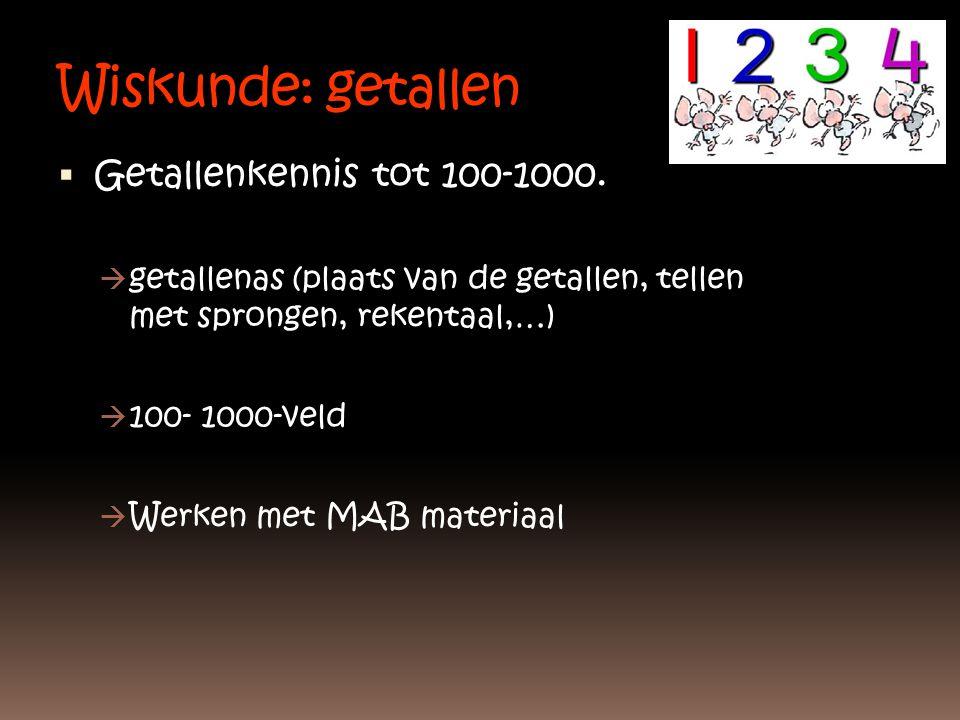 Wiskunde: getallen  Getallenkennis tot 100-1000.  getallenas (plaats van de getallen, tellen met sprongen, rekentaal,…)  100- 1000-veld  Werken me