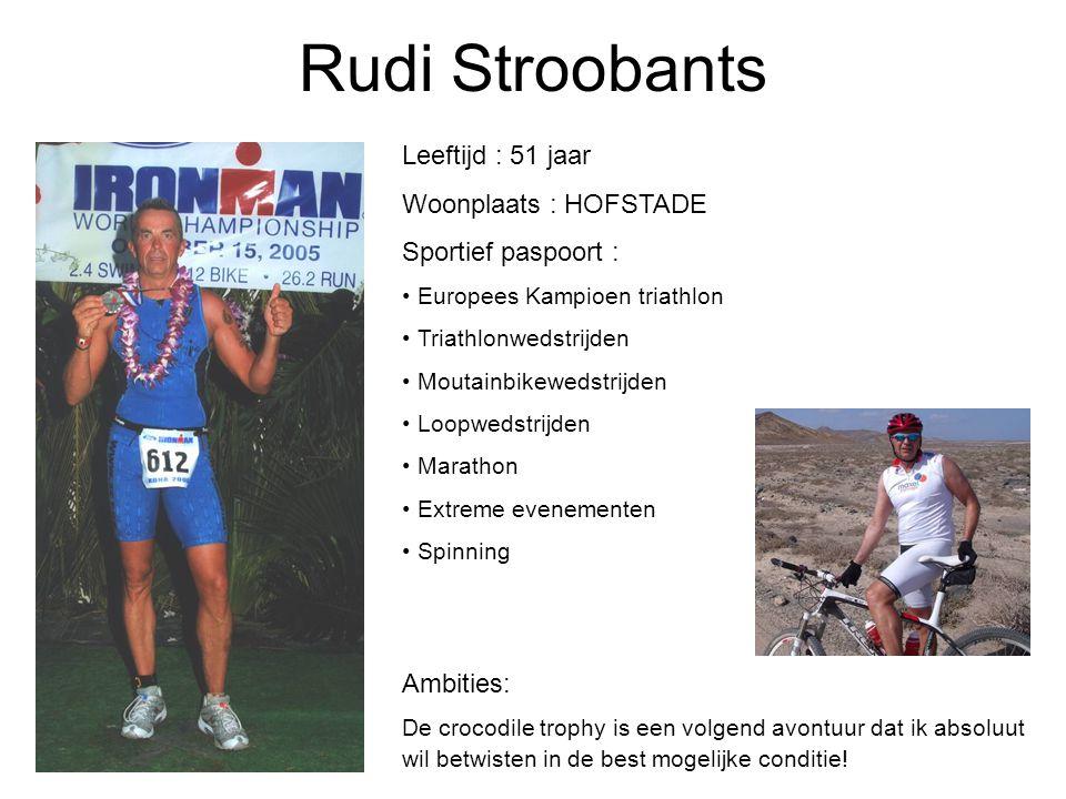 Rudi Stroobants Leeftijd : 51 jaar Woonplaats : HOFSTADE Sportief paspoort : Europees Kampioen triathlon Triathlonwedstrijden Moutainbikewedstrijden L
