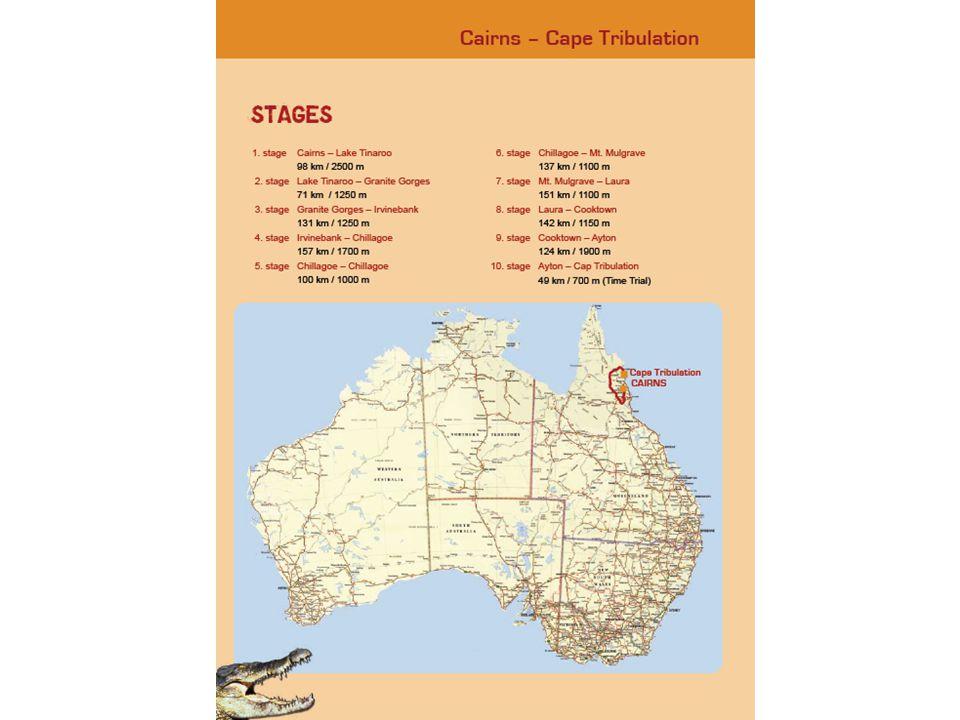 19-10-2010 Cairns – Lake Tinaroo 98 km / 2500 m 20-10-2010 Lake Tinaroo – Granite Gorges 71 km / 1250 m 21-10-2010 Granite Gorges – Irvinebank 131 km / 1250 m 22-10-2010 Irvinebank – Chillagoe 157 km / 1700 m 23-10-2010 Chillagoe – Chillagoe 100 km / 1000 m 24-10-2010 Chillagoe – Mt.Mulgrave 137 km / 1100 m 25-10-2010 Mt.Mulgrave – Laura 151 km / 1100 m 26-10-2010 Laura – Cooktown 142 km / 1150 m 27-10-2010 Cooktown – Ayton 124 km / 1900 m 28-10-2010 Ayton – Cape Tribulation 49 km / 700 m
