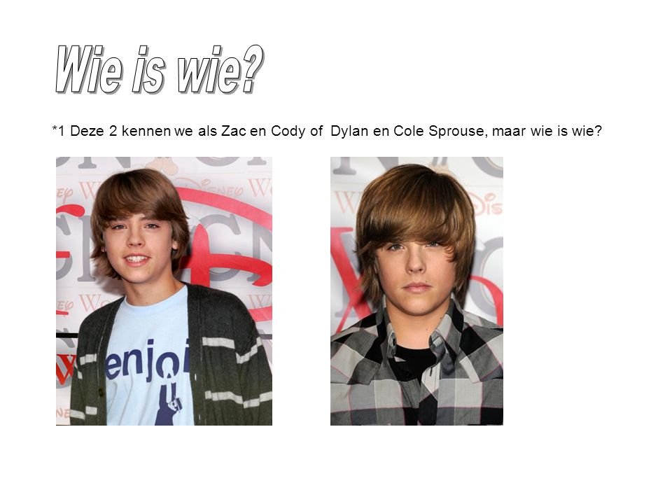 *1 Deze 2 kennen we als Zac en Cody of Dylan en Cole Sprouse, maar wie is wie