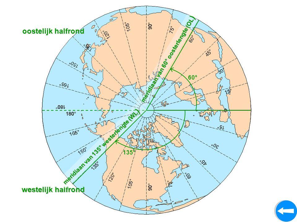 oostelijk halfrond westelijk halfrond 60° m e r i d i a a n v a n 6 0 ° o o s t e r l e n g t e ( O L ) 135° m e r i d i a a n v a n 1 3 5 ° w e s t e r l e n g t e ( W L )