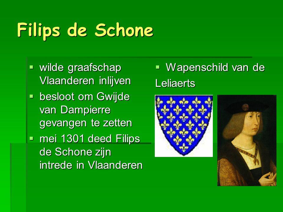 Twee groepen  Klauwaerts  aanhangers graaf van Vlaanderen  Vlaamsgezind  vooral boeren en ambachtslui in de steden  Leliaerts  aanhangers van Franse koning  Fransgezind  vooral de rijke patriciërs (adel en rijke handelaars) in de steden