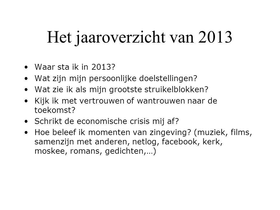 Het jaaroverzicht van 2013 Waar sta ik in 2013? Wat zijn mijn persoonlijke doelstellingen? Wat zie ik als mijn grootste struikelblokken? Kijk ik met v