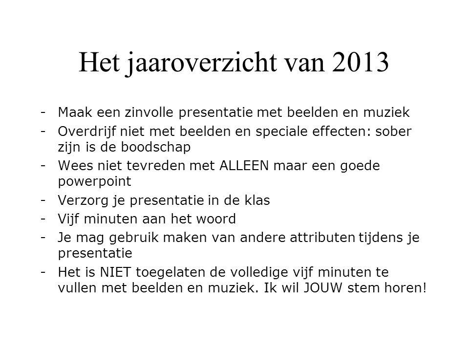 Het jaaroverzicht van 2013 -Maak een zinvolle presentatie met beelden en muziek -Overdrijf niet met beelden en speciale effecten: sober zijn is de boo