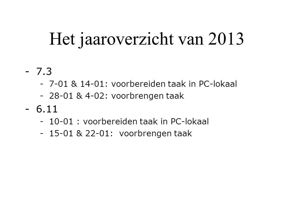 Het jaaroverzicht van 2013 -7.3 -7-01 & 14-01: voorbereiden taak in PC-lokaal -28-01 & 4-02: voorbrengen taak -6.11 -10-01 : voorbereiden taak in PC-lokaal -15-01 & 22-01: voorbrengen taak